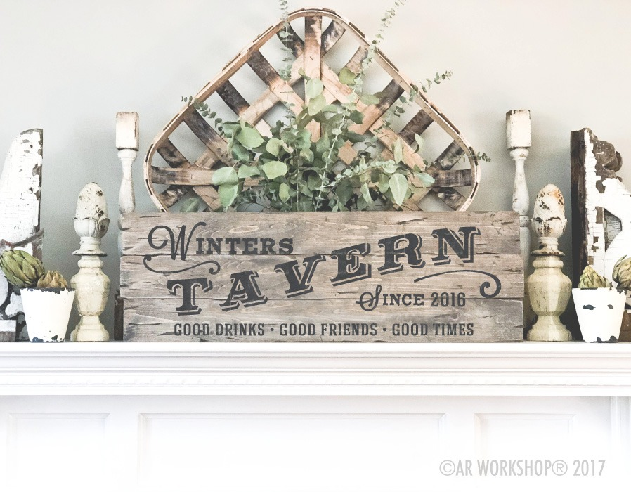 tavern family name plank sign 10.5x32