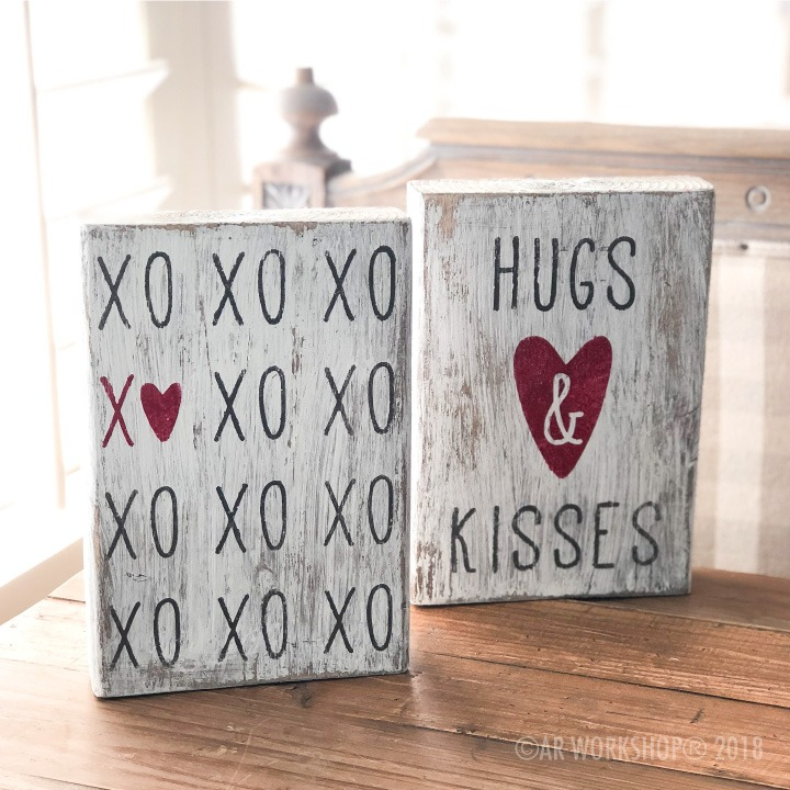 hugs and kisses valentines wood block