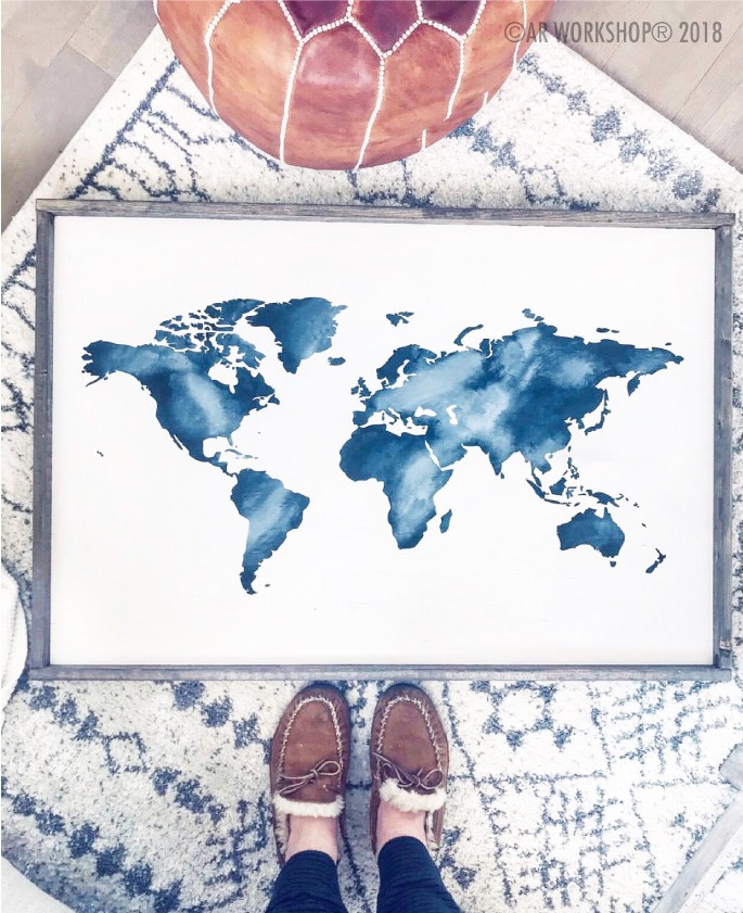 WORLD MAP SILHOUETTE OVERSIZED FRAMED SIGN 26×38 watercolor wanderlust