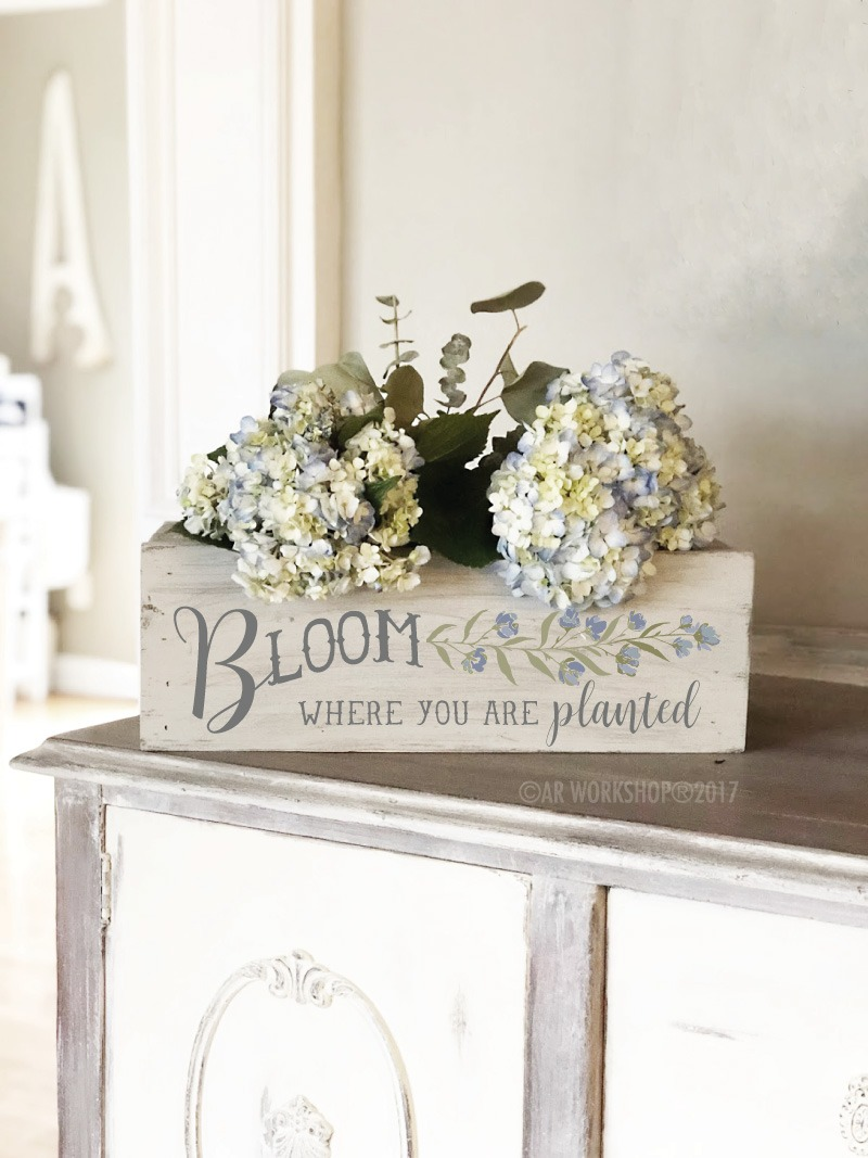 bloom where you are planted centerpiece box 16""