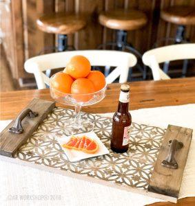 boho circle plank wood tray