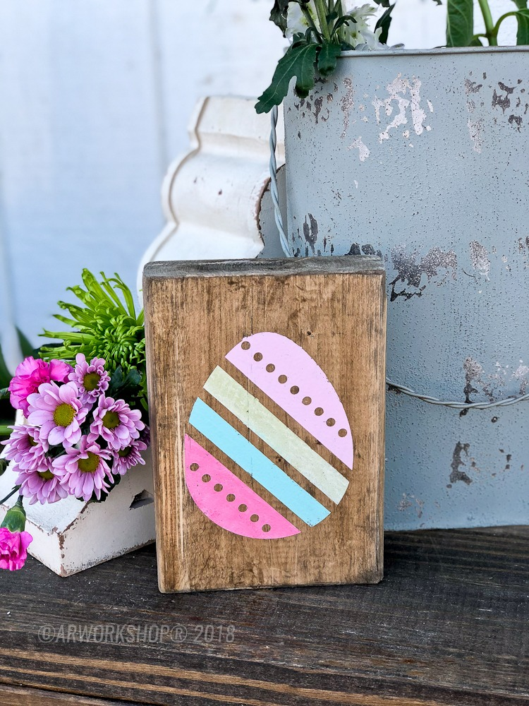 diagonal stripes easter egg wood block sign