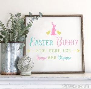 easter bunny stop here oversized framed sign 26x26