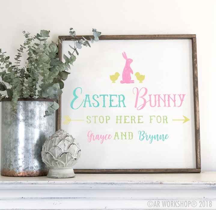 easter bunny stop here oversized framed sign 26x26