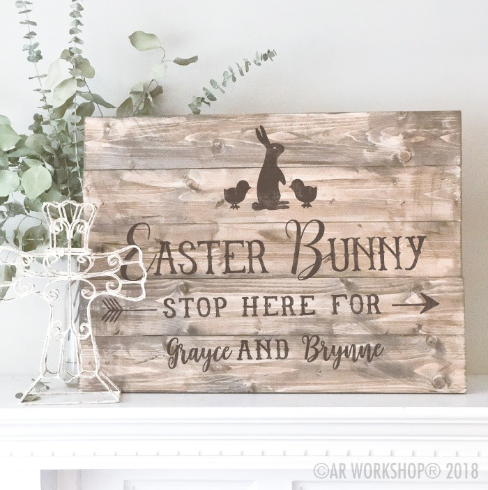 easter bunny stop here plank sign 17.5x24
