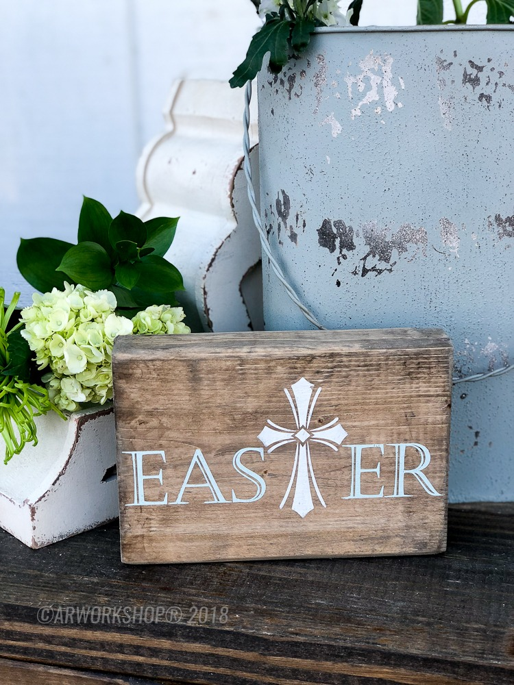 easter cross wood block sign