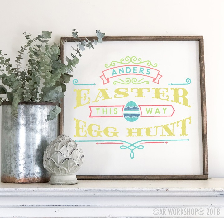 easter egg hunt oversized framed sign 26x26
