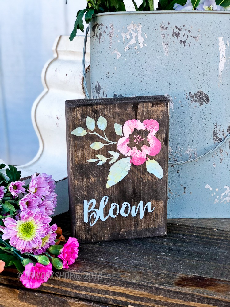 floral bloom wood block sign