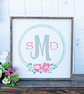 floral monogram wreath oversized framed sign 26x26