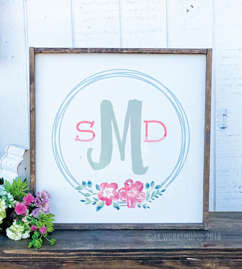 floral monogram wreath oversized framed sign 26x26