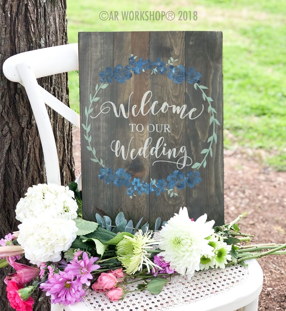floral wreath welcome to our wedding plank sign 14x19