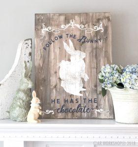 follow the bunny plank sign 17.5x24