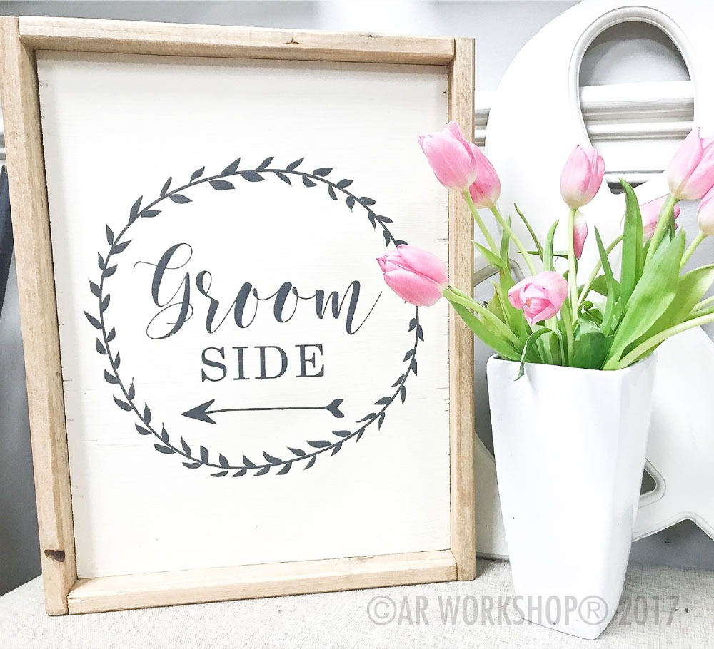 groom side framed sign 18x21