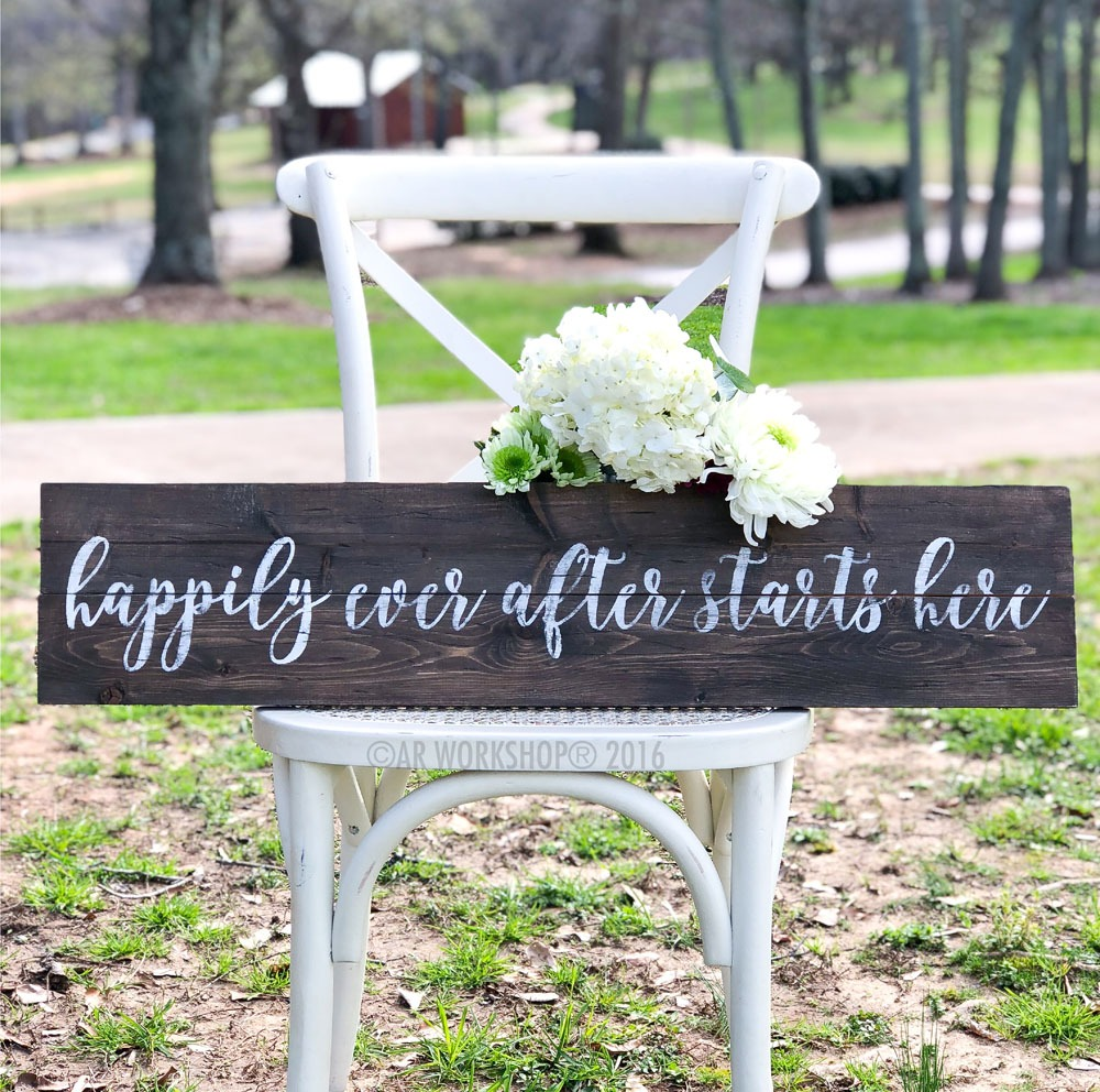 Happily Ever After Starts Here plank sign 7x32