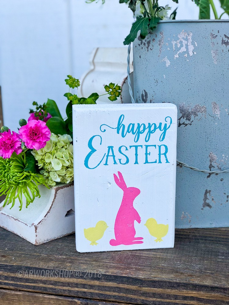 happy easter bunny and chicks wood block sign