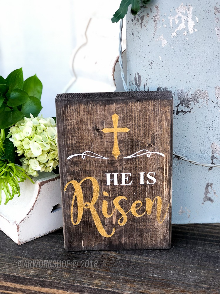 he is risen wood block sign