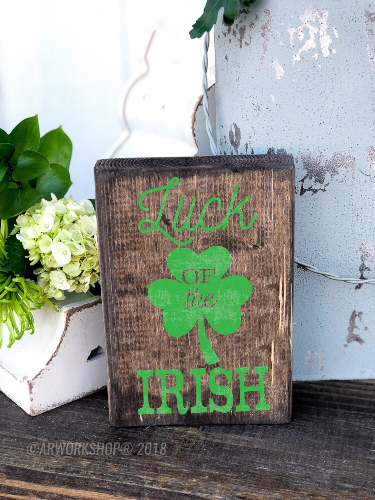 luck of the irish wood block sign