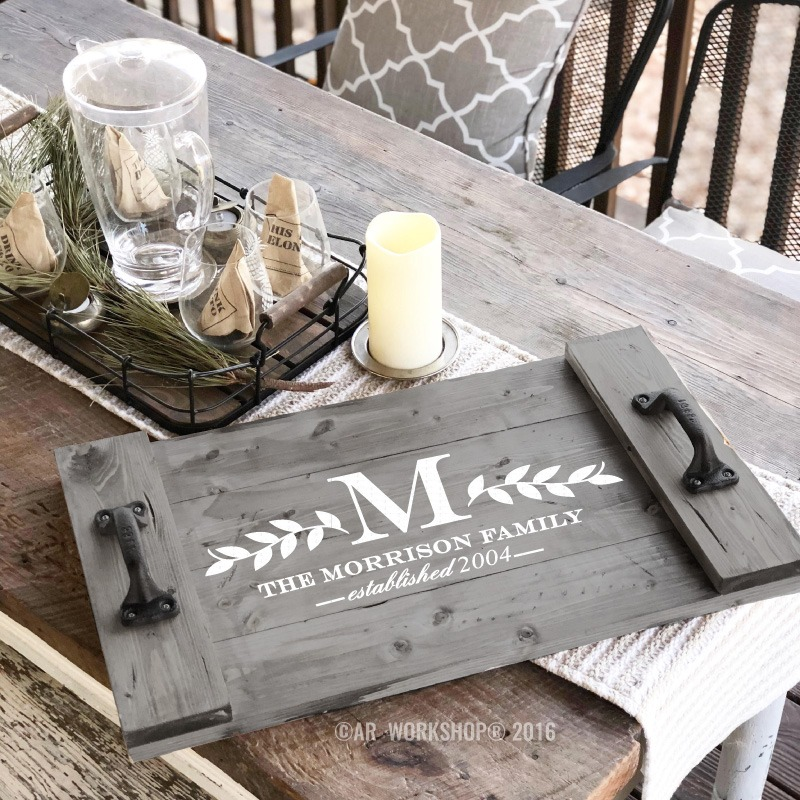 farmhouse monogram wood tray diy