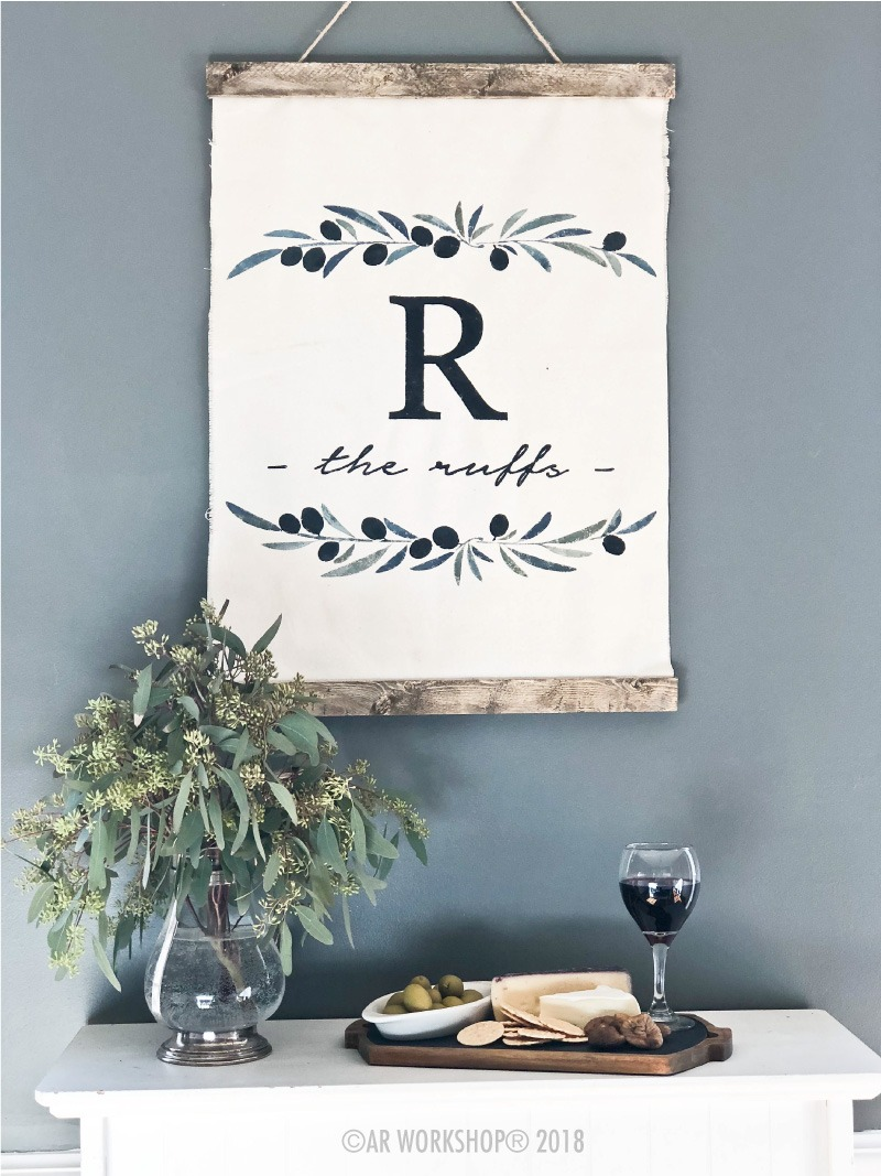 olive branch monogram family name canvas wall hanging