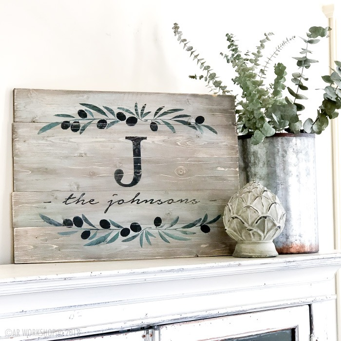 olive branch monogram family name plank sign 17.5x24