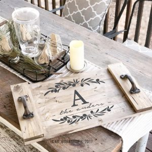 olive branch monogram family name plank wood tray 14x24