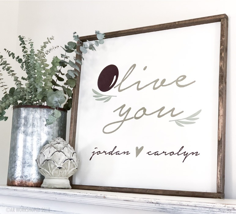 olive you framed wood sign 26x26