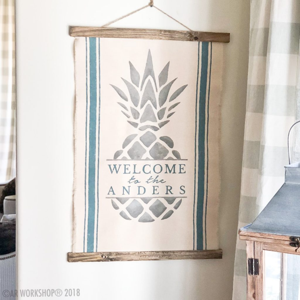 pineapple hospitality canvas wall hanging