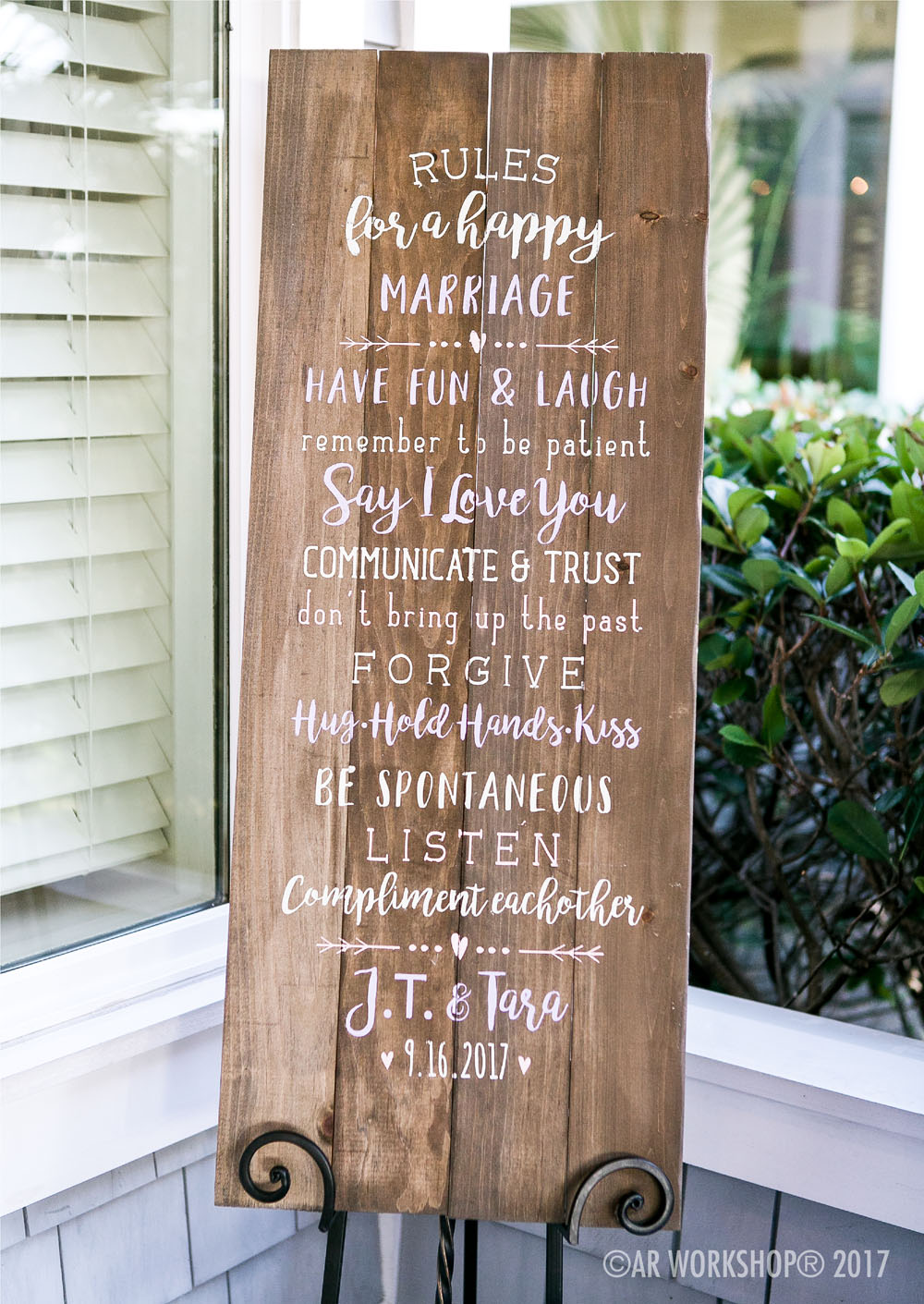rules for a happy marriage plank sign 14x48
