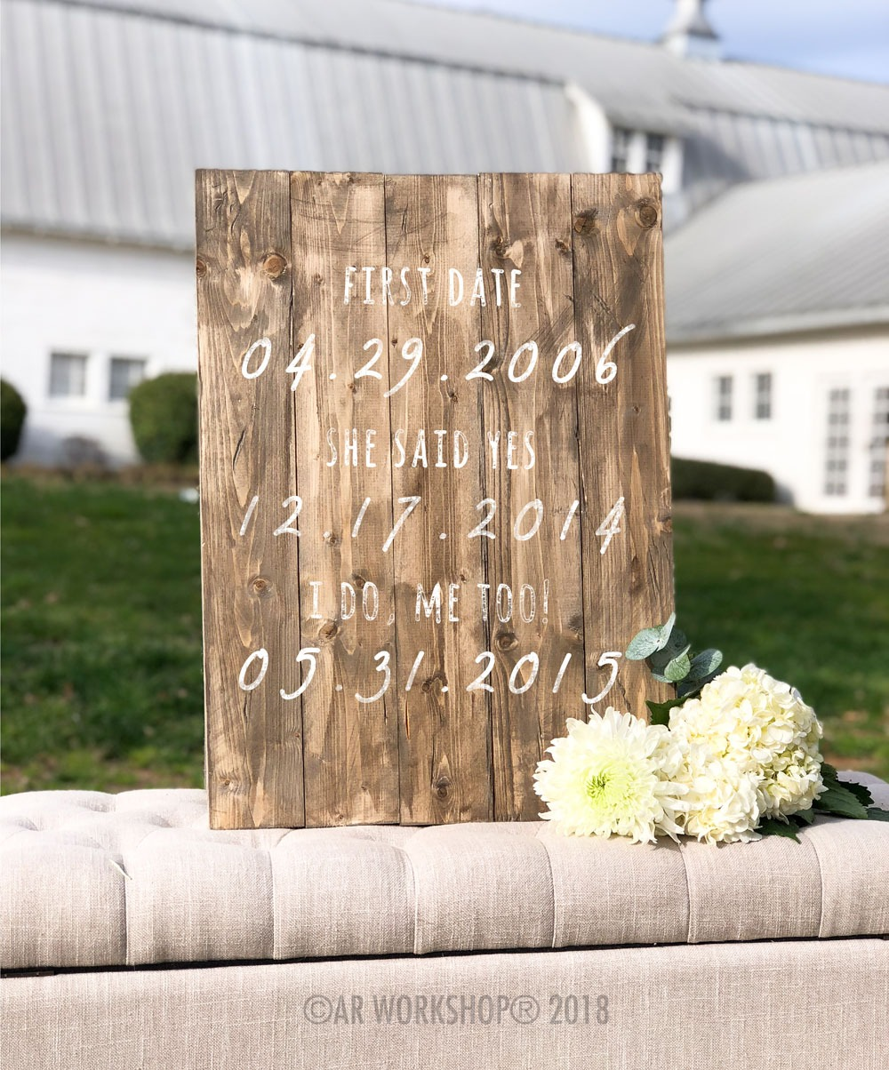 Wedding Dates Plank Sign 17.5x24