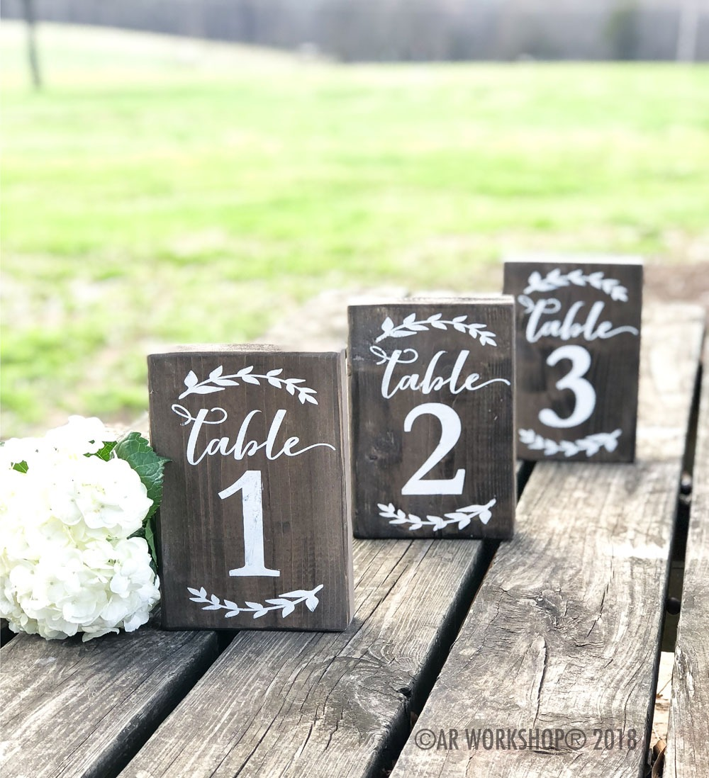 Laurel Branch Table Numbers Mini Wood Sign