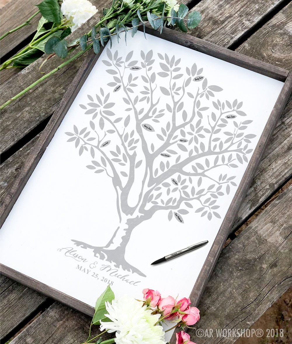 Wedding Tree Guestbook framed sign 18x26