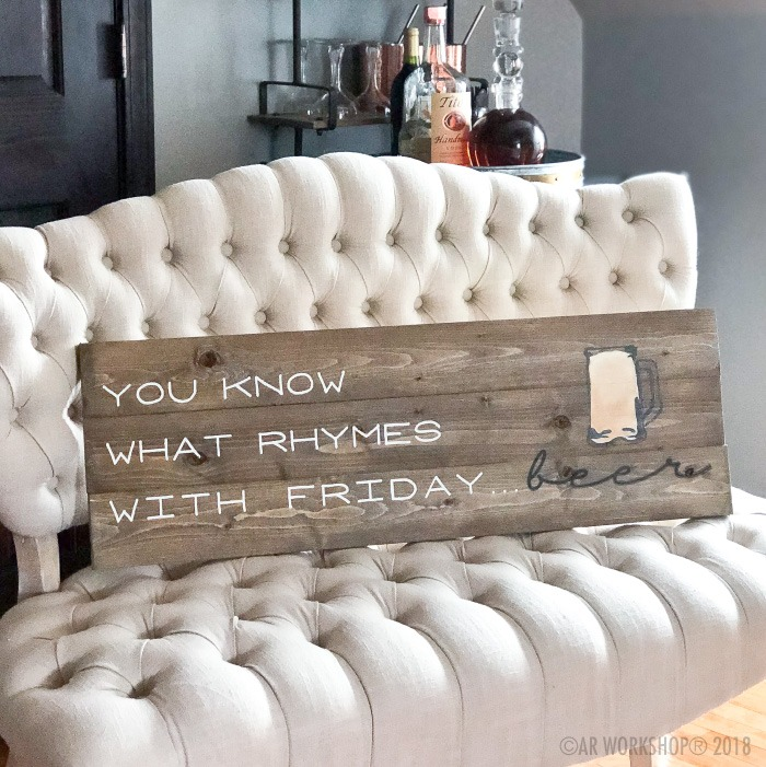 you know what rhymes with friday beer plank sign 10.5x32