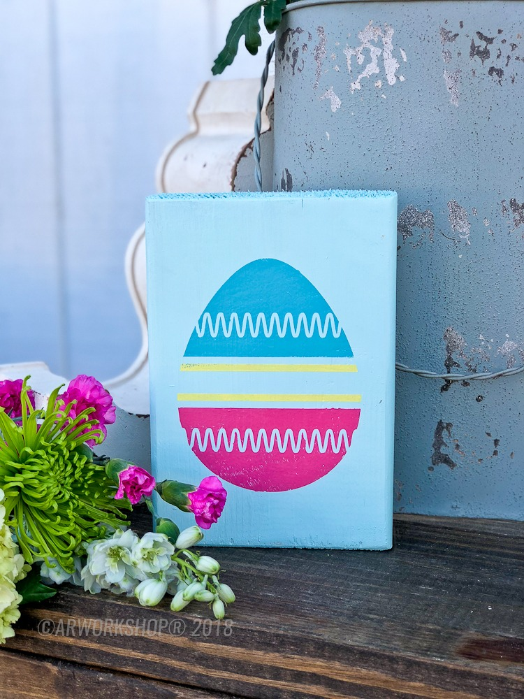 zig zag easter egg wood block sign