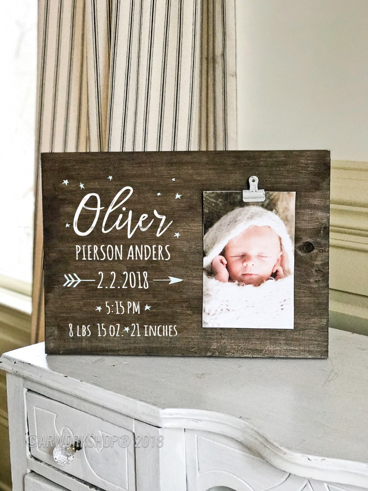 Stars Baby Birth Announcement Wood Photo Frame