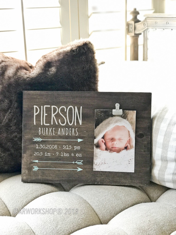 Arrow Baby Birth Announcement Wood Photo Frame