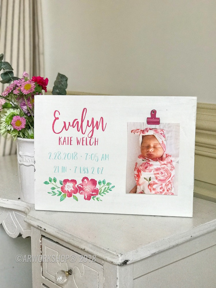 Floral Baby Birth Announcement Wood Photo Frame