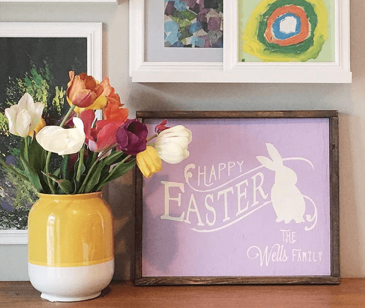 happy easter family name framed sign 18x21