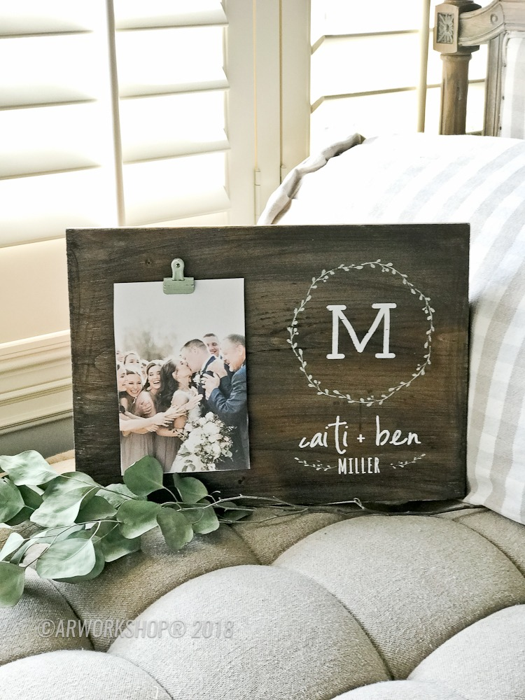 Monogram Couple Wood Photo Frame
