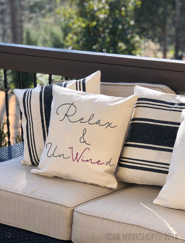 relax and un wine d canvas pillow