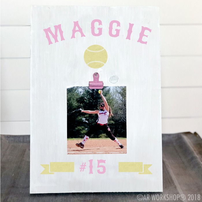 sports name team softball youth wood photo frame