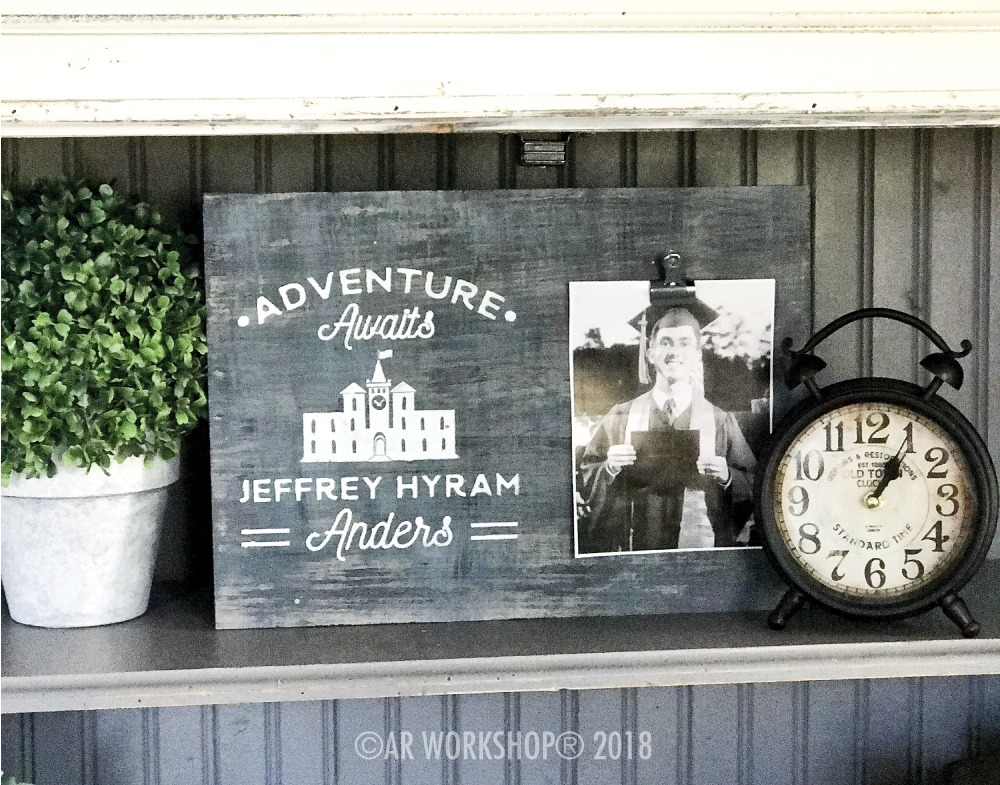 Adventure Awaits Graduation wood photo frame
