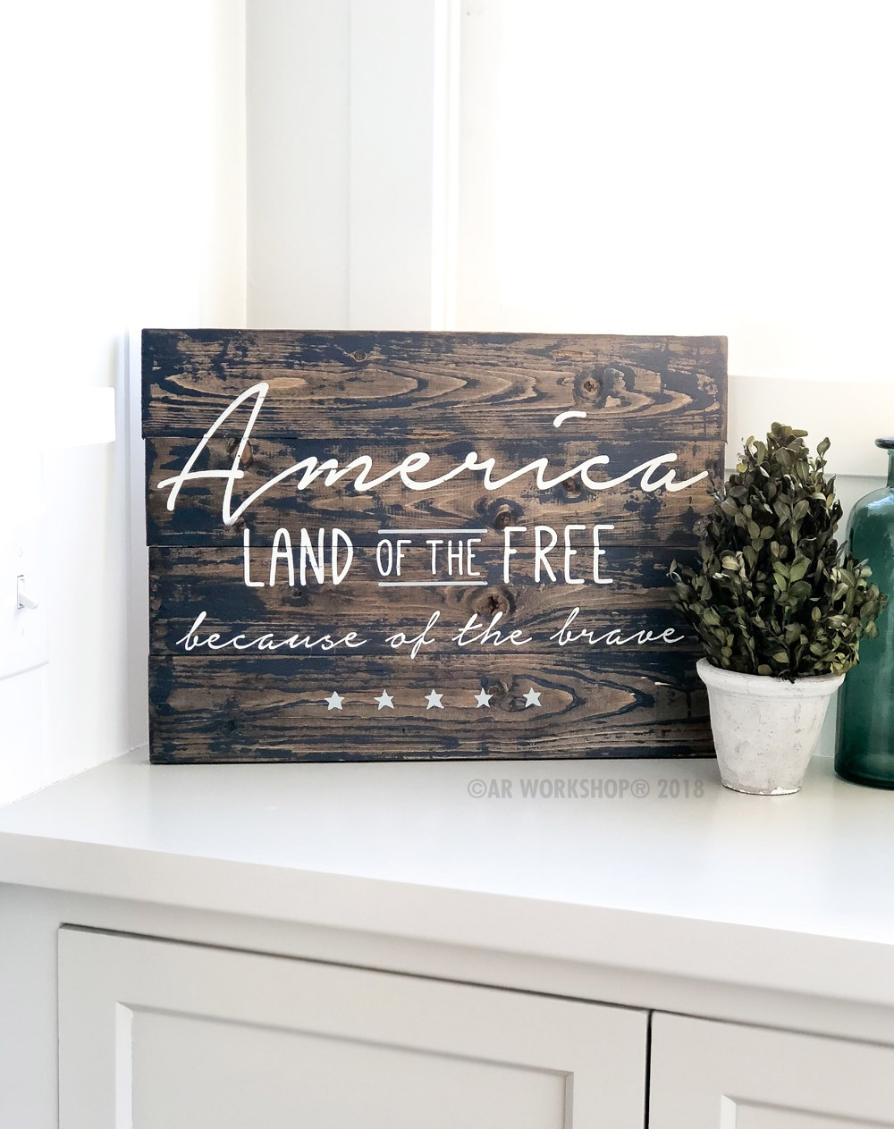 america land of the free plank sign 14x19