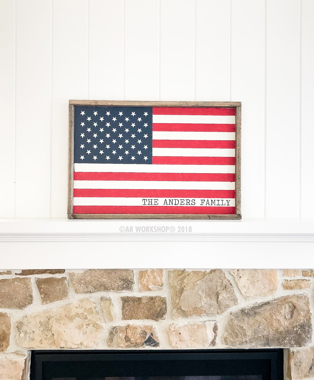 AMERICAN FLAG FRAMED WOOD SIGN 18×26