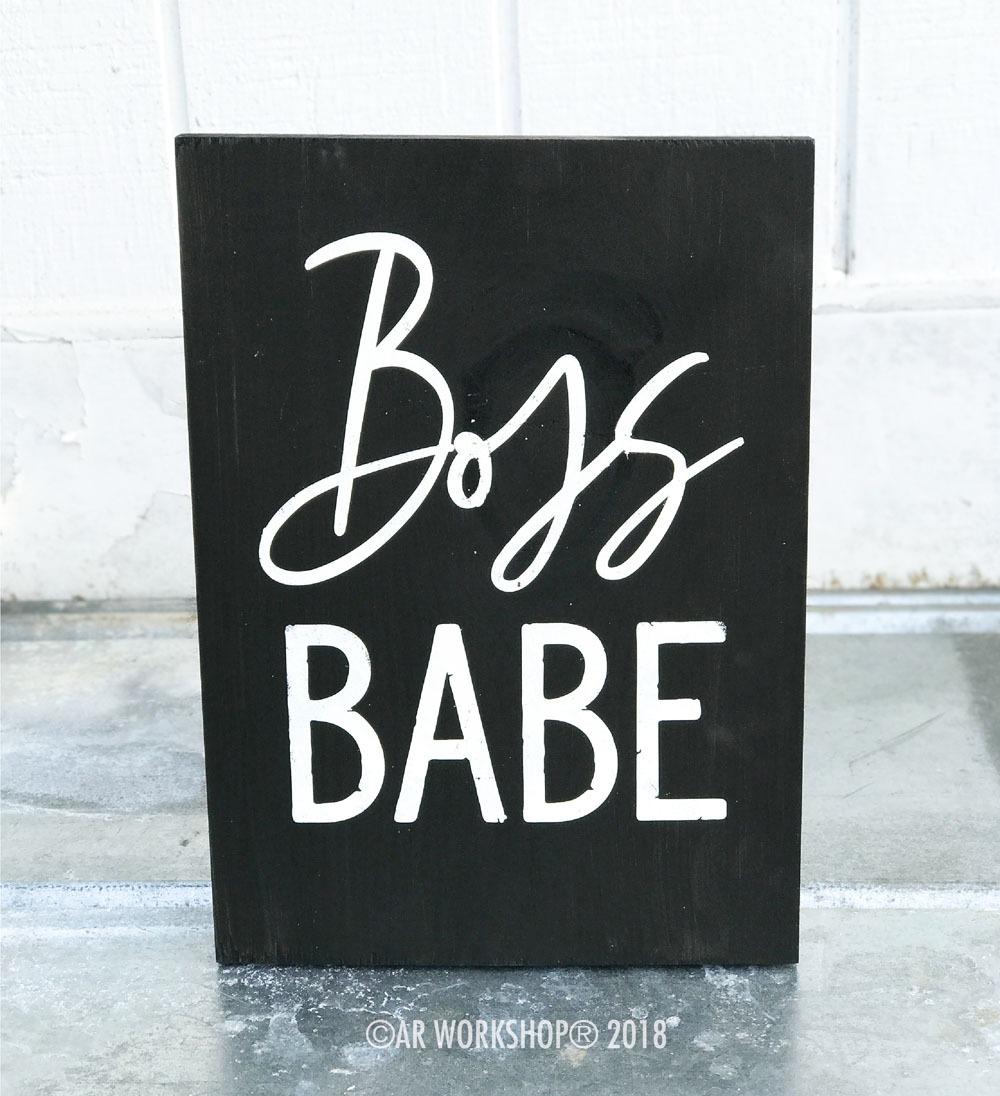 boss babe wood sign 12x16