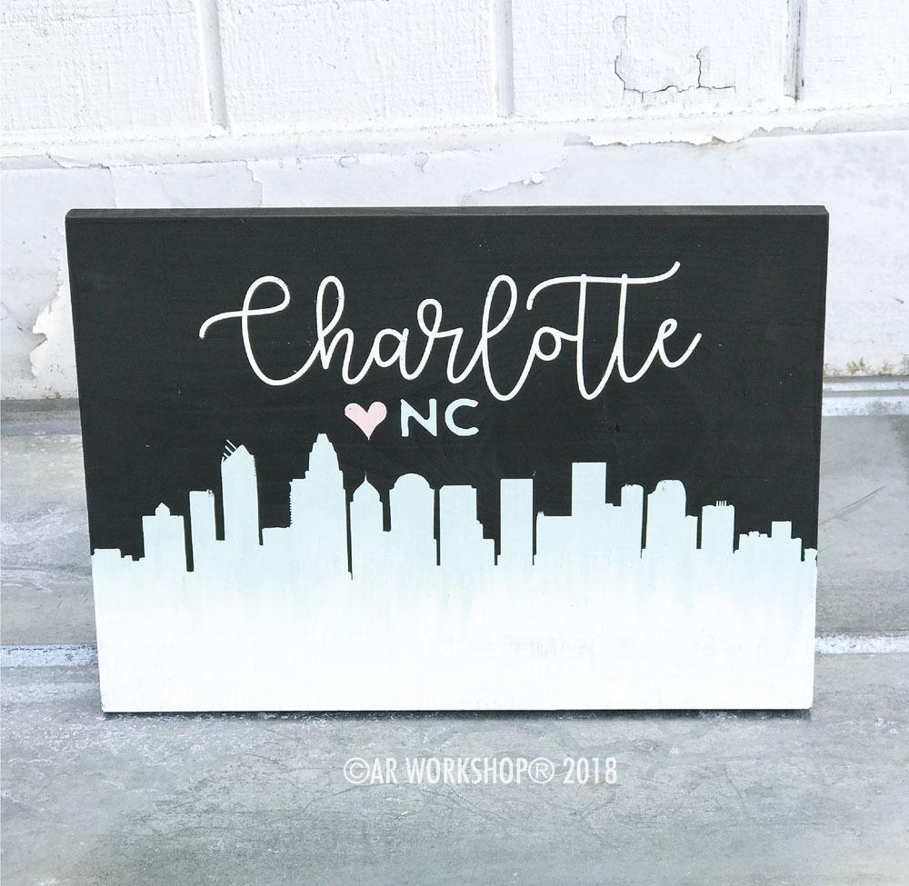 Charlotte Skyline youth wood sign 12x16