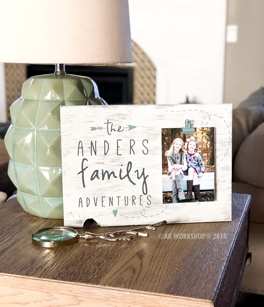 family adventures wood photo frame