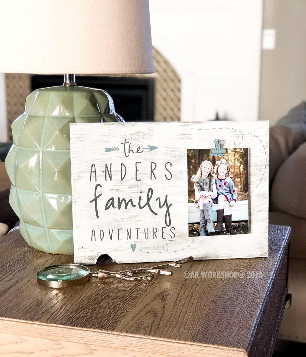 family adventures wood photo frame