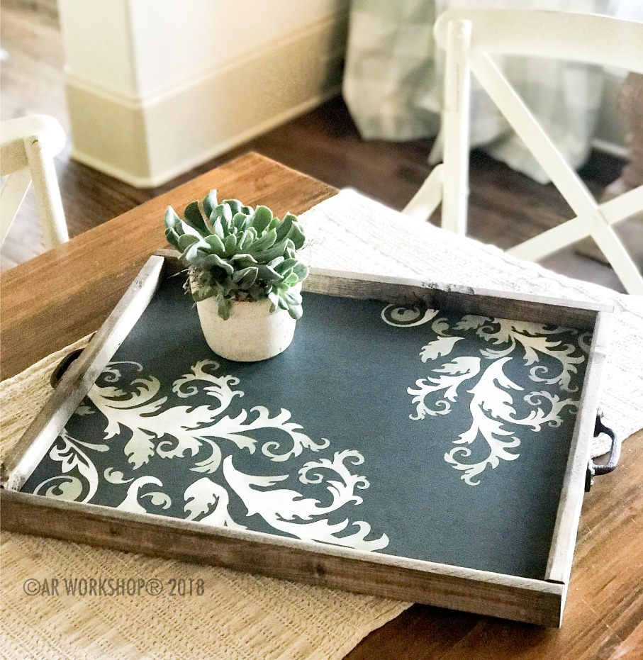 french flourish inspired framed tray 18x21