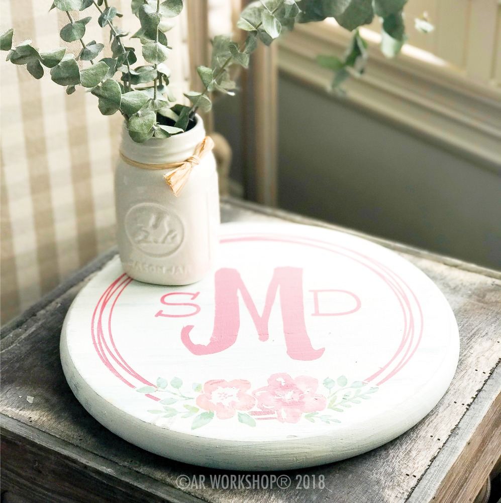 garden flower wreath monogram lazy susan