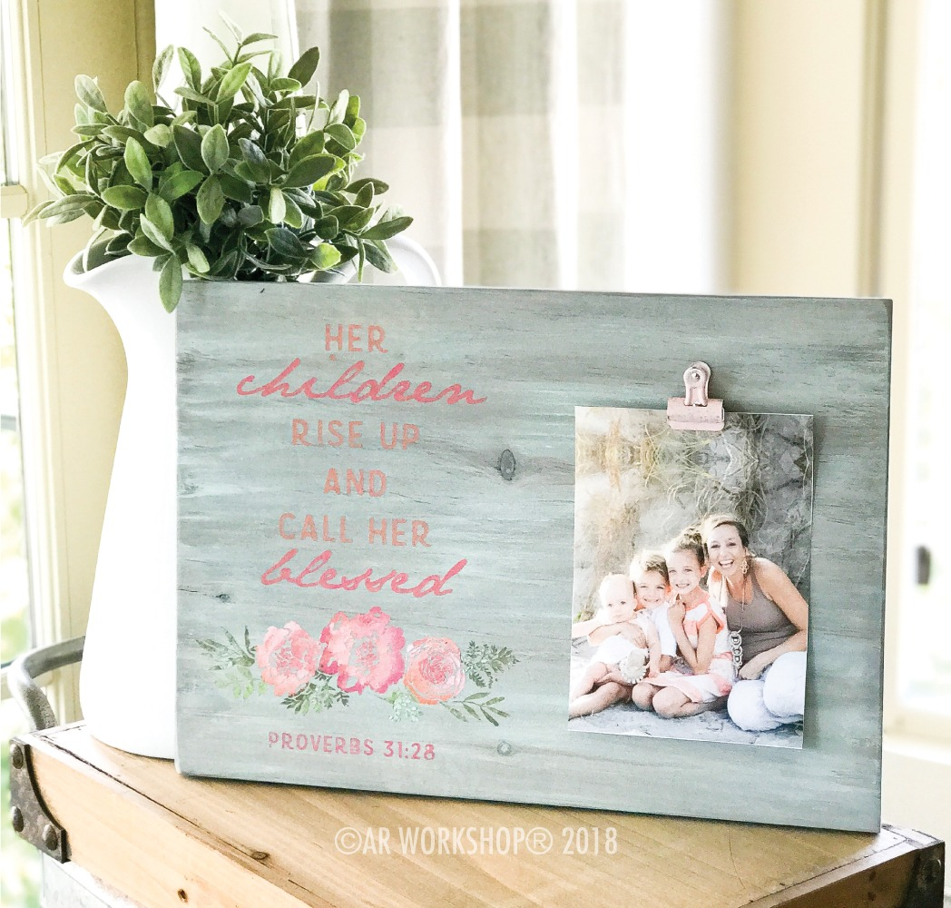 Her Children Rise up and Call her Blessed wood photo frame